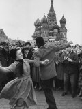 Celebration in Red Square in Honor of Cosmonaut Yuri Gagarin to Moscow Premium Photographic Print by James Whitmore