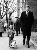 Caroline, Walking with Daddy, President Elect John F. Kennedy Photographic Print by Bob Gomel