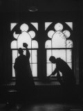 Monks Cleaning Windows of the Monastery's Sacristy Premium Photographic Print by Gordon Parks