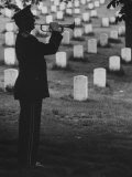 Army Bugler at Arlington Cemetery, During Ceremonies Premium Photographic Print by George Silk