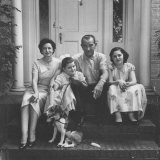 Senator Lyndon B. Johnson with His Family on the Front Steps of Their Home Photographic Print by Ed Clark