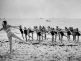 Girls of the Children's School of Modern Dancing, Rehearsing on the Beach Premium Photographic Print by Lisa Larsen