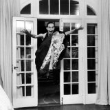15 Year Old Girl Making a Flying Entrance Into a Party For 15 Year Olds Photographic Print by Yale Joel