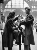 Wife and Baby Saying Farewell to Serviceman Husband and Father at Pennsylvania Station During WWII Premium Photographic Print by Alfred Eisenstaedt