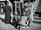 Harlem Street Scene Showing a Man Getting a Shoeshine as a Young Child Watches Intently Premium Photographic Print