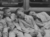 Little Boys Sleeping on Subway Car Premium Photographic Print by Stan Wayman