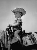 Jean Anne Evans, 14 Month Old Texas Girl Riding Horseback Photographic Print by Allan Grant