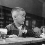 Little Boy Drinking a Soda at a Local Drugstore Photographic Print by Francis Miller