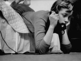 Ginny Nyvall Talking on the Phone Premium Photographic Print by Grey Villet
