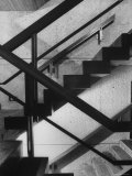 Cement Staircase and Wooden Railings in Modernistic Whitney Museum of American Art Premium Photographic Print by Bob Gomel