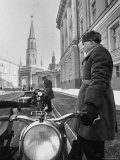 Kremlin Motorcycle Police Escort Waiting For Harold Macmillan Visiting Khrushchev Premium Photographic Print by Howard Sochurek