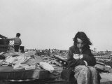 Little Girl with Her Kitten and Brother Looking on at Wreckage After Tornado Premium Photographic Print by Grey Villet