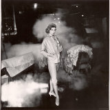 French Fashion Model Simone Bodin Posing at Tannery in Leather Suit Printed in Small Neat Design Photographic Print by Gordon Parks