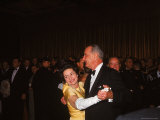 President Lyndon Johnson Dancing with Wife Lady Bird at His Inaugural Ball Premium Photographic Print by Stan Wayman