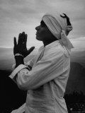 Buddhist Pilgrim Praying on Top of Sacred Mountain of Sri Pada in Ceylon Premium Photographic Print by Howard Sochurek