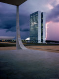 Oscar Niemeyer Designed Twin Towers For Congress in Brasilia with Lightning Bolt Premium Photographic Print by Dmitri Kessel