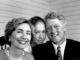 Portrait of President Bill Clinton, Daughter Chelsea and Wife Hillary Rodham Clinton, Photographic Print