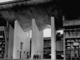 Entrance to Punjab High Court Building, Designed by Le Corbusier, in the New Capital City of Punjab Premium Photographic Print by James Burke