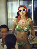 Model Naty Abascal Wearing Bikini, Showing Off Designs on Chest and Stomach at Paradise Islands Photographic Print by Bill Eppridge