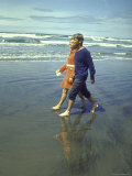 Presidential Candidate Bobby Kennedy and Wife Ethel Strolling on Oregon Shore Premium Photographic Print by Bill Eppridge