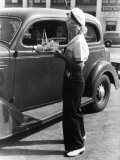 Young Girl Carhops, Waiting on Customers at the Hollywood Drive In Premium Photographic Print by Alfred Eisenstaedt