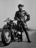 Front Shot of a German Made BMW Motorcycle and Rider Premium Photographic Print by Ralph Crane