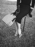 Big Checked Handbag with Matching Shoes, New Mode in Sports Fashions, at Roosevelt Raceway Photographic Print by Nina Leen