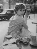 French Fashion Model Marie Helene Arnaud Sitting at a Cafe Photographic Print by Loomis Dean
