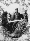 Native American Silversmith from Navajo Tribe Sitting with His Wares Premium Photographic Print by Will Soule