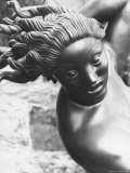 Sculpture Showing Detail of Woman's Head in Garden of Swedish Sculptor Carl Milles Premium Photographic Print by Alfred Eisenstaedt