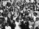 Marchers Carrying American Flags and Signs During the Walk to Freedom For Racial Equality Premium Photographic Print by Francis Miller