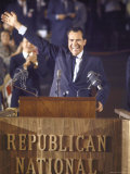 Politician Richard Nixon Waving From Platform at Republican National Convention Premium Photographic Print by John Dominis