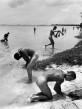 Naked Us Soldiers Bathing in the Pacific Ocean During a Lull in the Fighting on Saipan Photographic Print by Peter Stackpole