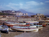 Small Fishing Boats on the Shore of Naples Harbor During WWII Premium Photographic Print by George Rodger