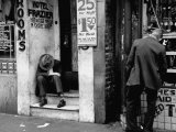 Vagrant Sitting in Doorway Premium Photographic Print by Horace Bristol