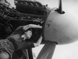 Women's Auxiliary Air Force Plane Mechanic Checking Wiring of a Mosquito Engine Premium Photographic Print