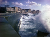 Wave Crashing Against a Breakwater Along the Malecon, a Waterfront Boulevard Photographic Print by Eliot Elisofon