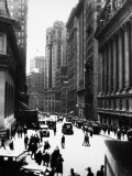 Pedestrians and Traffic on Wall Street in Front of the New York Stock Exchange Photographic Print