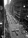 "Model of Plane on Float in ""New York at War"" Independence Day Parade Up Fifth Avenue Premium Photographic Print by Andreas Feininger"