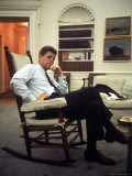 President John F. Kennedy Sitting in Rocking Chair in His White House Office Photographic Print by Paul Schutzer