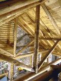 Stone Fireplace from Bedroom Loft of Summer Cabin Made from a Prefabricated Kit of Pine Logs Premium fotografisk trykk av John Dominis