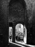 Young French School Students Standing in an Archway Just After Being Let Out from Classes Premium Photographic Print by Boris Paschkoff