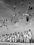 Sailors and Waves at Naval Base Premium Photographic Print by Alfred Eisenstaedt