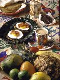 Traditional Mexican Breakfast: Fried Tortillas, Chocolate, Huevos Rancheros and Fresh Fruit Premium Photographic Print by John Dominis