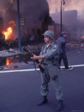 National Guardsman Patrolling Street After Race Riots Premium Photographic Print by Declan Haun