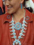 Navajo Woman Modeling Turquoise Pins and Squash Blossom Necklace Made by Native Americans Premium Photographic Print by Michael Mauney