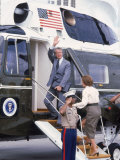 President Jimmy Carter Boarding Helicopter Marine 1 with Wife Rosalynn For an Easter Vacation Premium Photographic Print by Walter Bennett