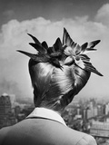 Woman Showing Her Fashionable Wartime Hairstyle Called Winged Victory Premium Photographic Print by Nina Leen