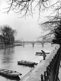 Rowboats Tied Up Along the Seine River Premium Photographic Print by Ed Clark