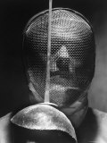 Portrait of Fencer Wearing Sabre Mask Photographic Print by Andreas Feininger
